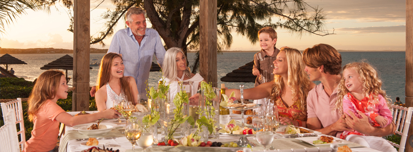 Family dinner by the beach