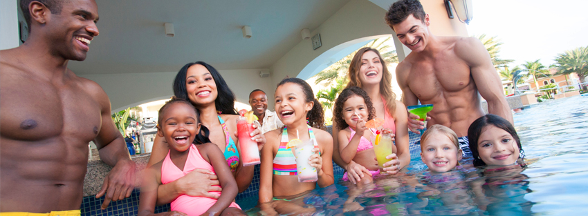 Fun drinks in the pool for kids and adults