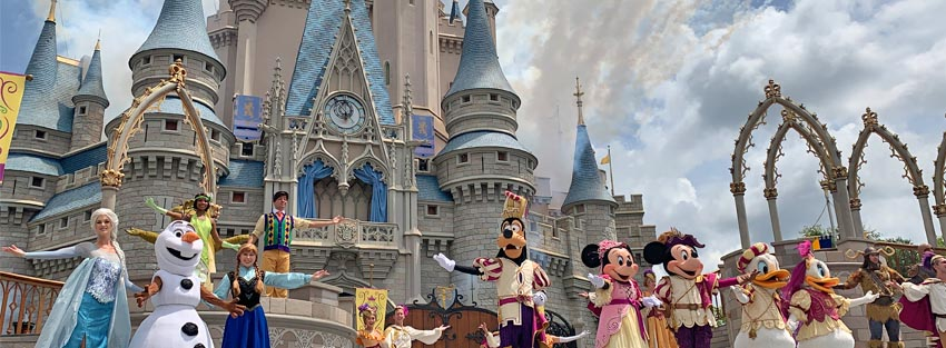 Castle show with characters at Magic Kingdom Park