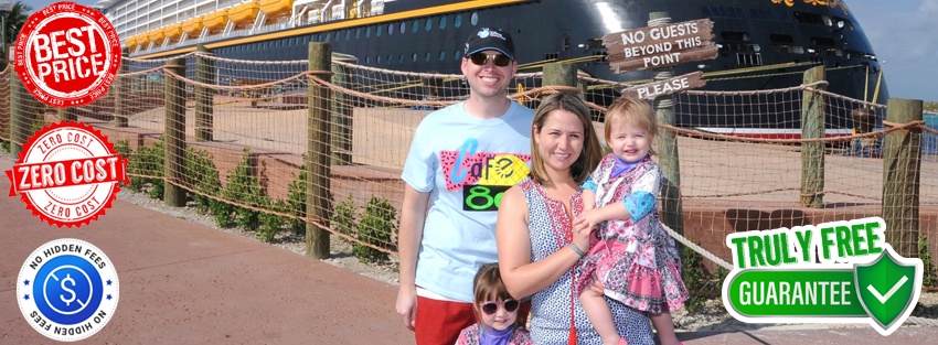 Monica with her family in front of the Disney Dream