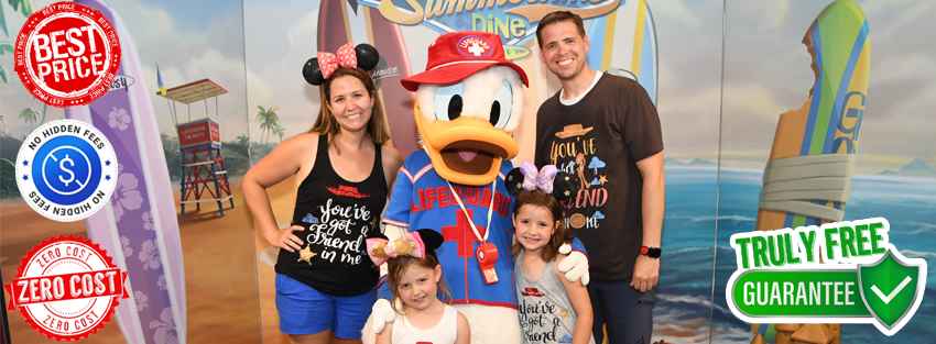 Monica with her family and Donald Duck